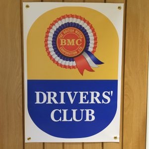 BMC Drivers' Club Banner made with PVC banner material with brass eyelets for wall hanging, suitable for exterior use