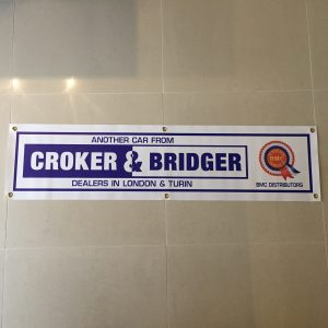 BMC Croker & Bridger Banner. 1220mm wide (4ft) x 260mm tall (10 inch), complete with brass eyelets for wall mounting.