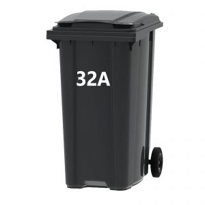 Wheelie bin numbers and letters