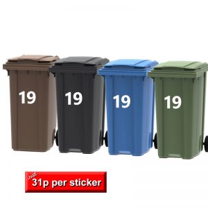 Wheelie Bin Numbers, self adhesive stickers white, in sets of 4 numbers