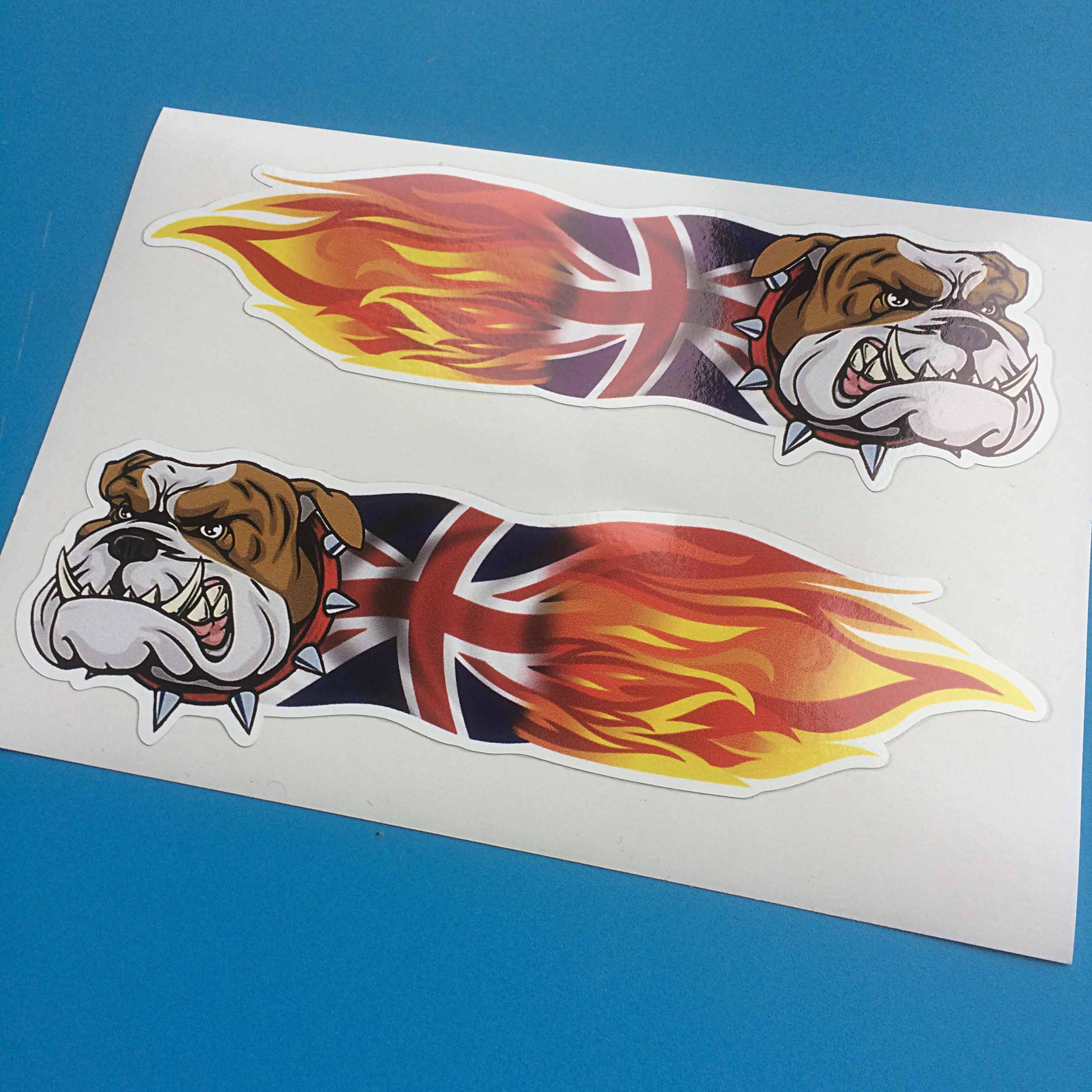 Face of a bulldog with sharp teeth. The dog collar is red with sharp studs. It's body is half Union Jack and half in flames.