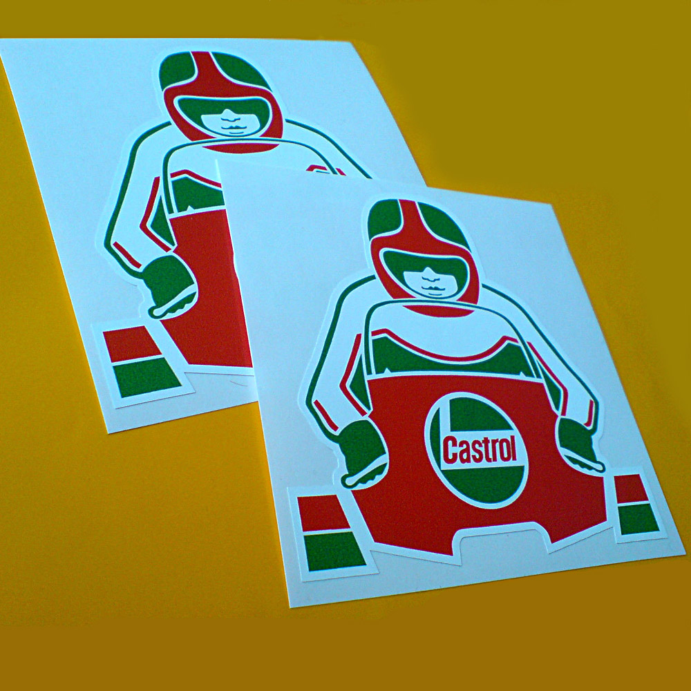 Castrol Biker Stickers Classic Castrol colours red and green. Motorbike rider on bike