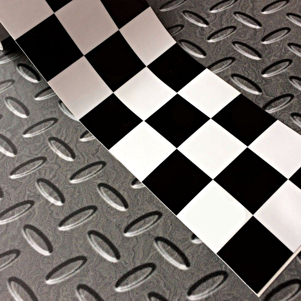 Chequered tape in black and white