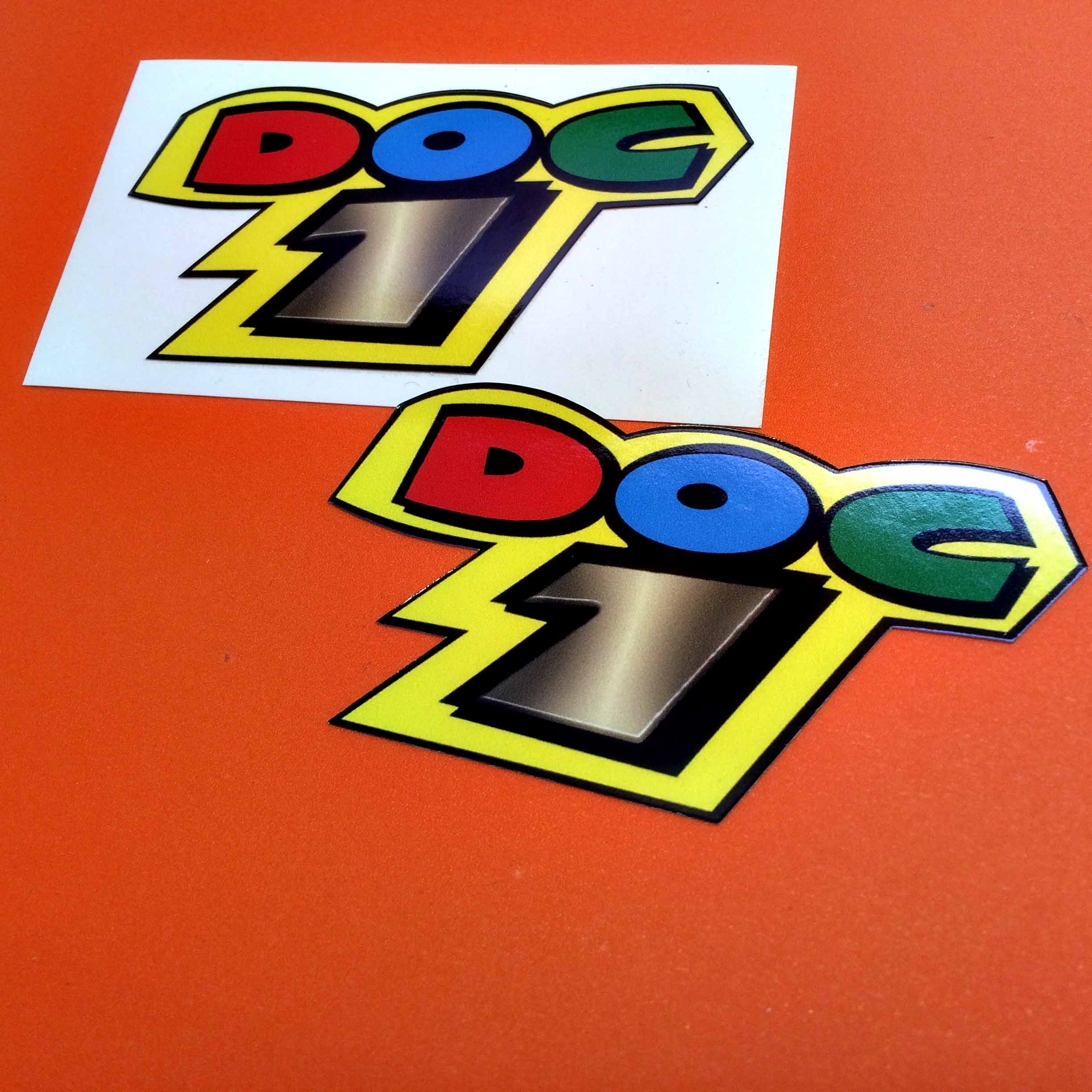 Bold capital letters. D is red, O blue and C is green. Underneath is the number 1 in grey. All characters sit on a yellow background.
