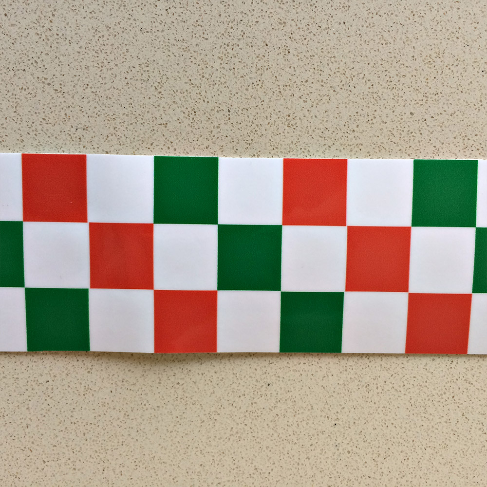 Chequered tape with red, white and green chequers