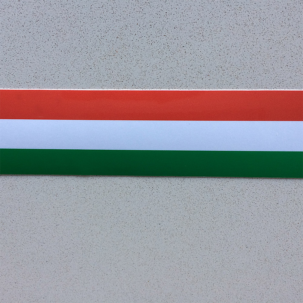 Italian striped tape, self adhesive in traditional Italian colours, green, red and white. Various widths available.