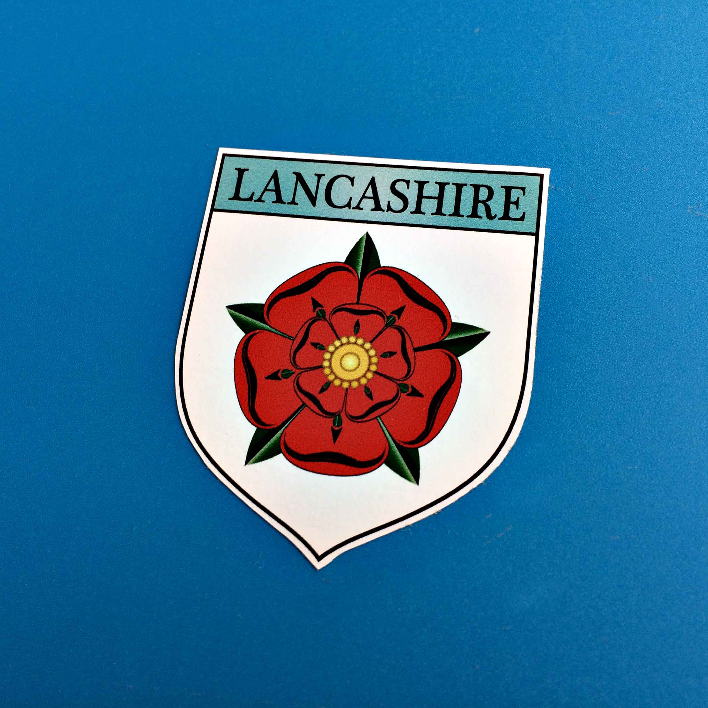 Lancashire County Shield Sticker, with the red rose of Lancashire