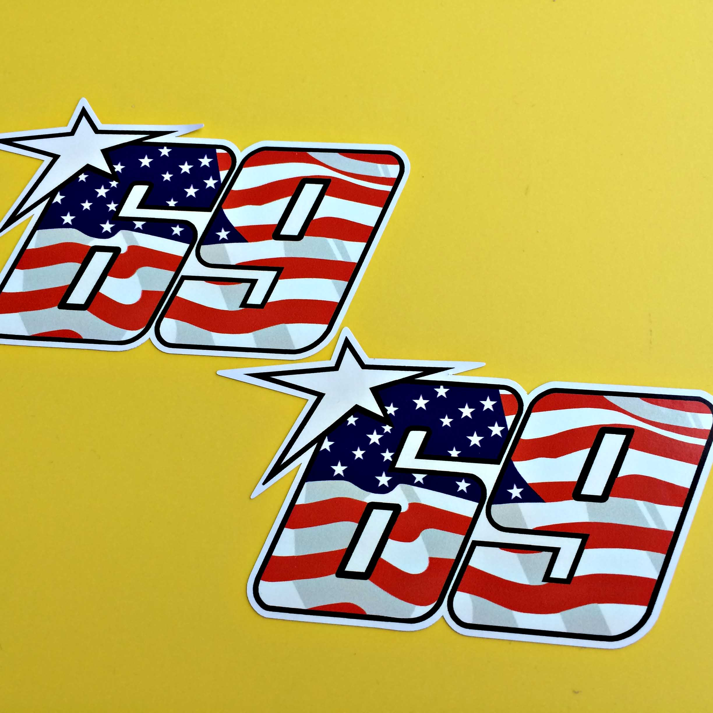 Stars and Stripes of America on the number 69. A white star is overlapping the top left corner.