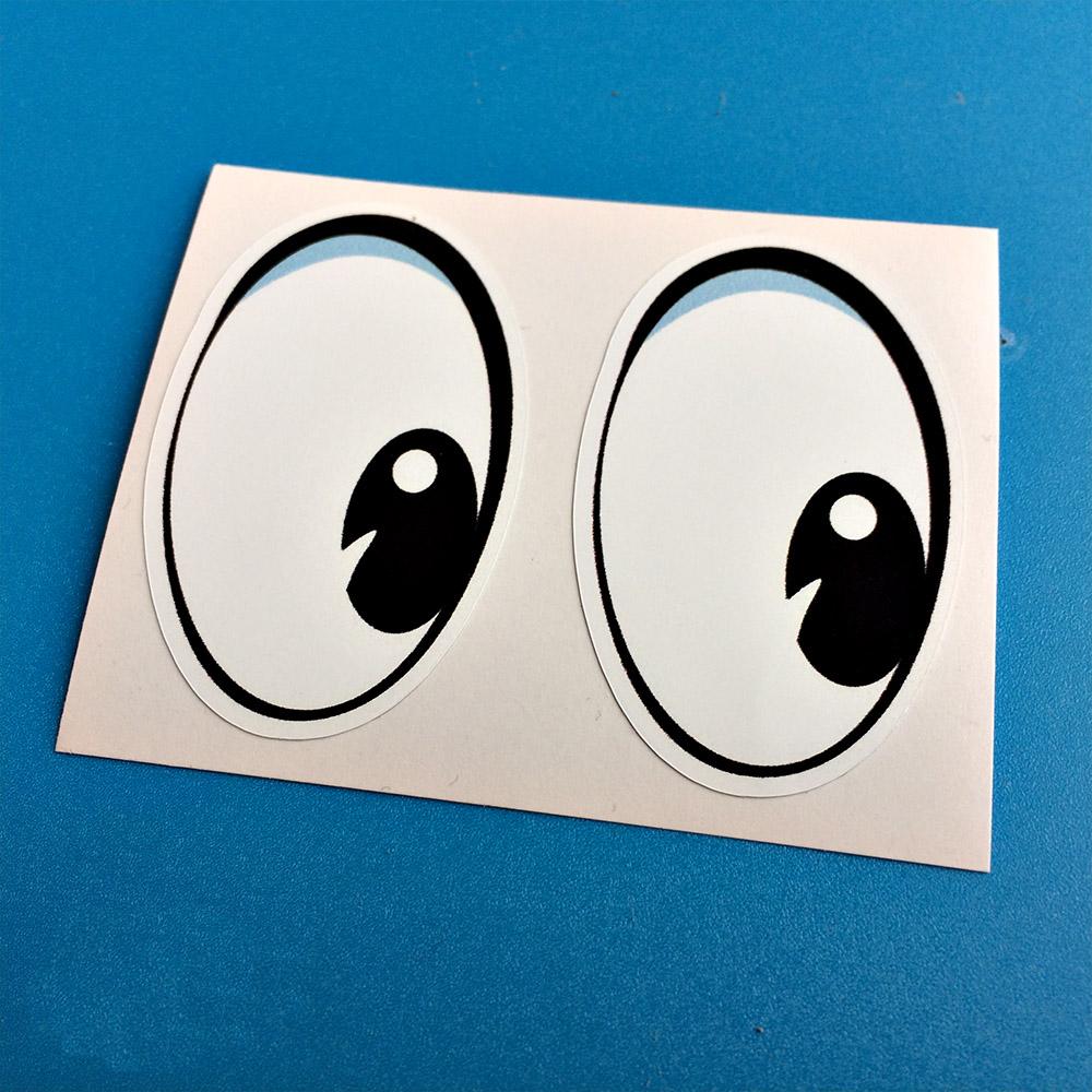 Whites of the eyes and black pupils.