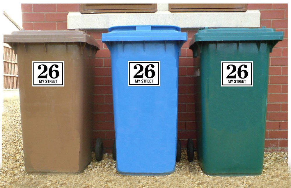 Wheelie Bin Stickers with house number/name and street name printed on