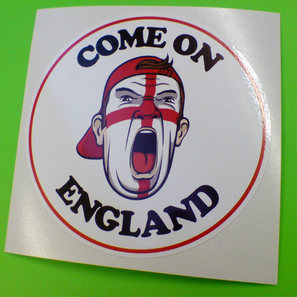 Come On England in bold uppercase black lettering. Centre is a man's face painted with the England flag. He is shouting and wearing a red baseball cap facing backwards. White background with a red edging.