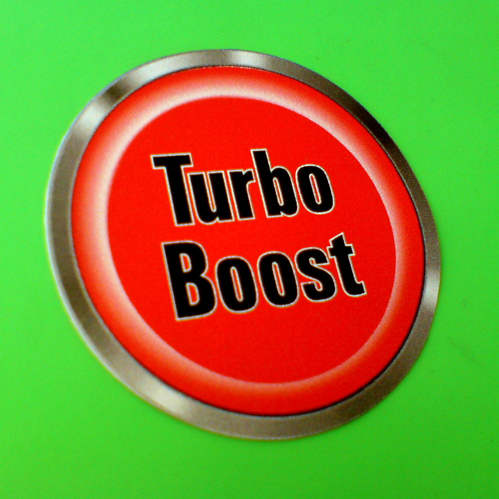 TURBO BOOST BUTTON DOMED RESIN GEL STICKER