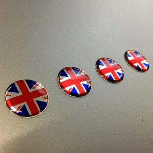 4 Union Jack Domed Stickers