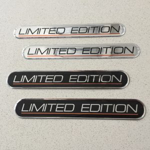 Limited Edition in capital letters underlined in red. Left and right hand sides of the sticker are curved.