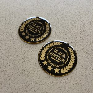 BLACK EDITION GOLD DOMED RESIN GEL STICKERS